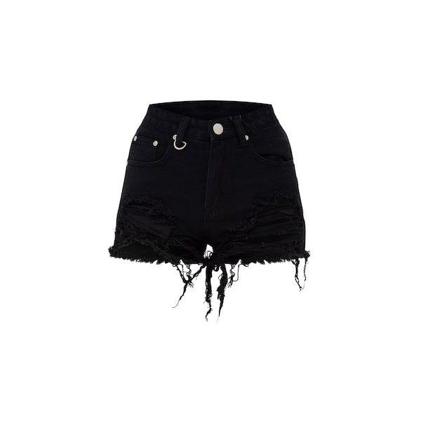 ce3450385 Jeanie Black Extreme Ripped Mom Denim Shorts ($28) ❤ liked on Polyvore  featuring shorts, destroyed denim shorts, torn jean shorts, distressed  shorts, ...