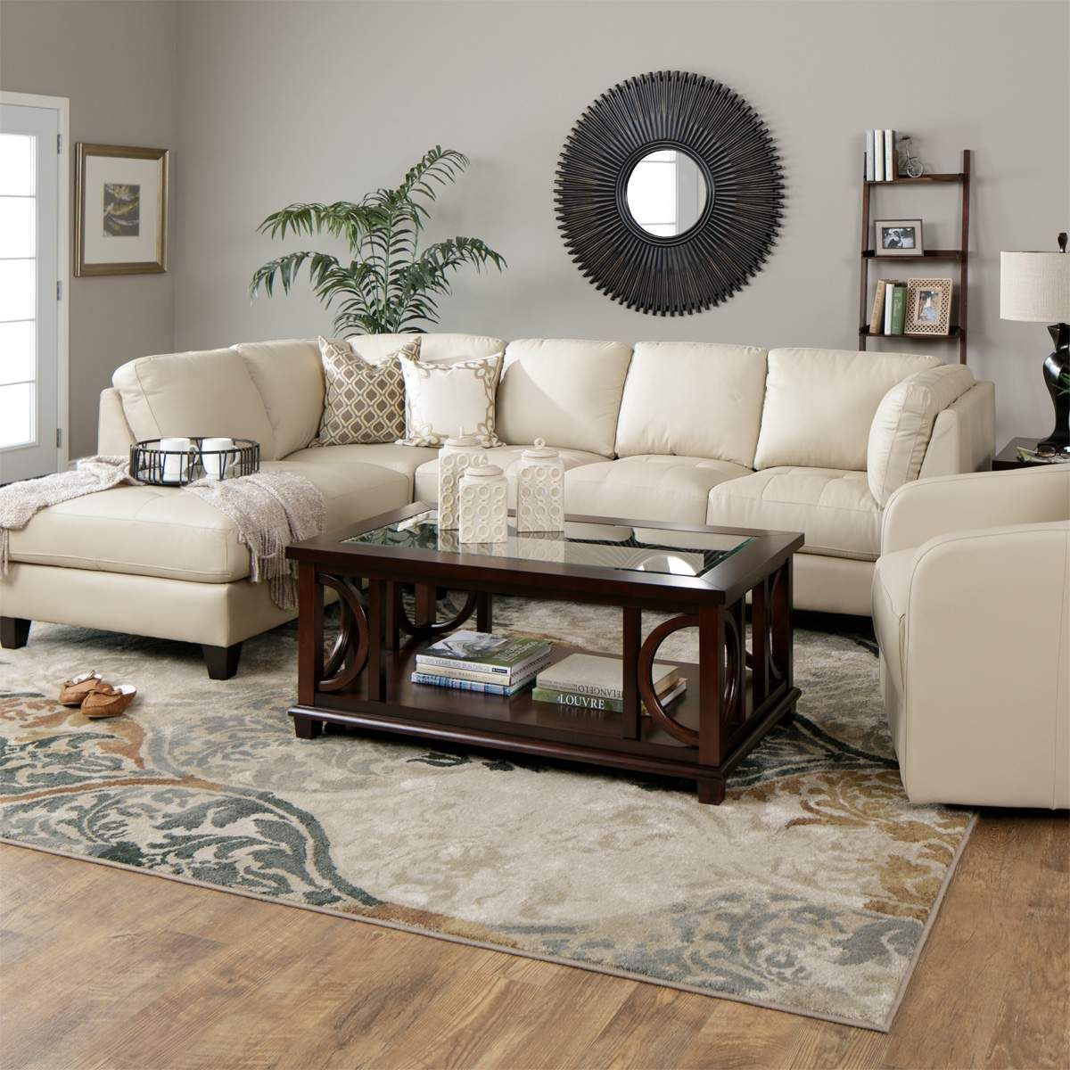 Sleek And Spacious The Devon Taupe Leather Sectional Has Plenty Of Room Leather Couches Living Room Leather Sectional Living Room Small Living Room Furniture