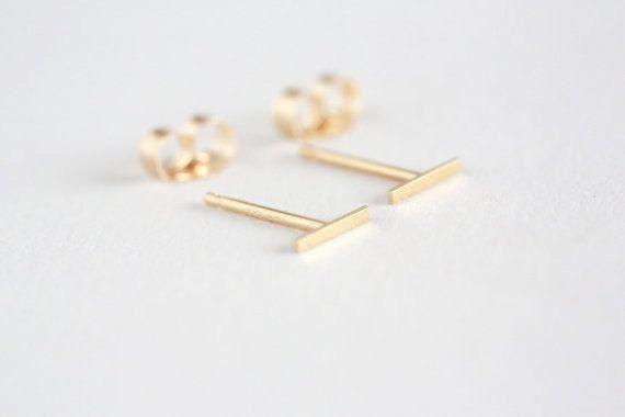 Tiny Solid 14 Karat Gold Line Earrings 14 Karat Solid Gold Line