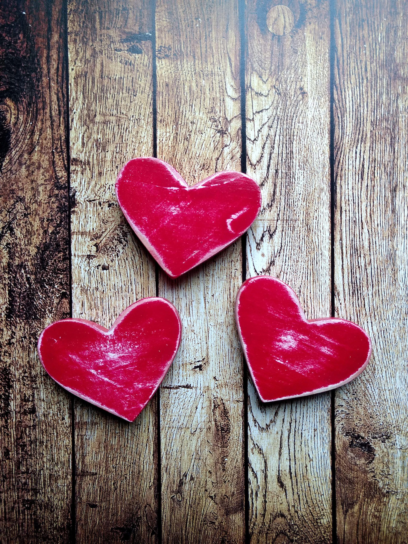 Heart Magnets 3 Wooden Heart Magnets Heart Decor Heart Gifts Rustic Hearts Decor Wood Heart Magnets Personalized Heart Magnets Heart Decorations Wooden Hearts