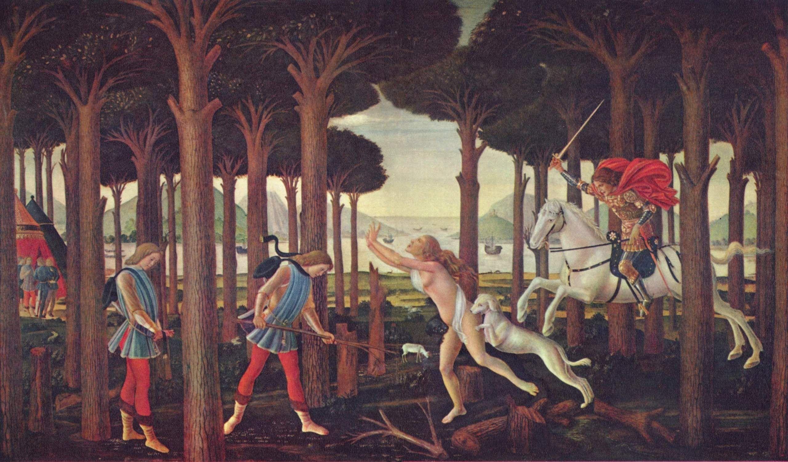 The Story of Nastagio degli Onesti (I), from The Decameron, by Boccaccio - Sandro Botticelli, 1484, tempera, 138 x 83 cm, Museo del Prado, Madrid, Spain