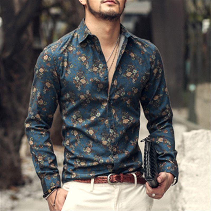 buy popular 86a7c 17d77 Uomini camicia Floreale di stampa a maniche lunghe camicie ...