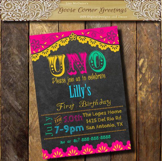 Printable invitacion, FIESTA 1st Birthday Party Invitation - fresh invitation 60th birthday party templates