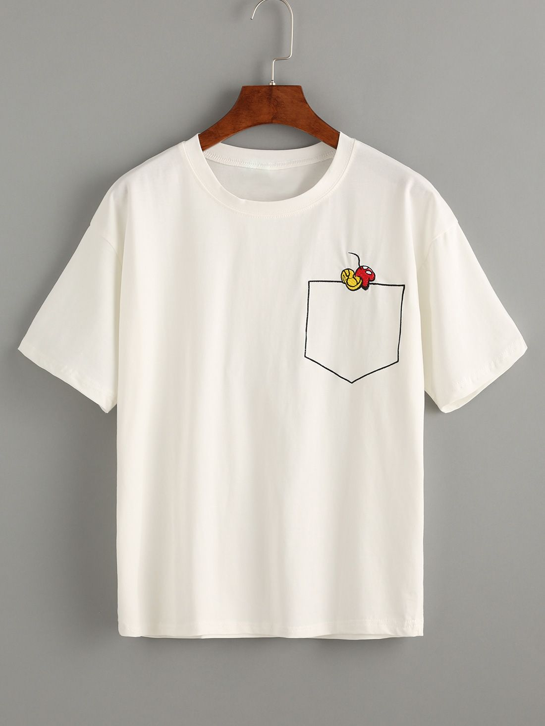 White T-shirt With Embroidery 8.99   Aesthetic shirts ...