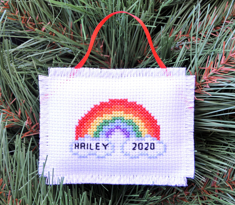 Rainbow Christmas Ornament Handmade Cross Stitch