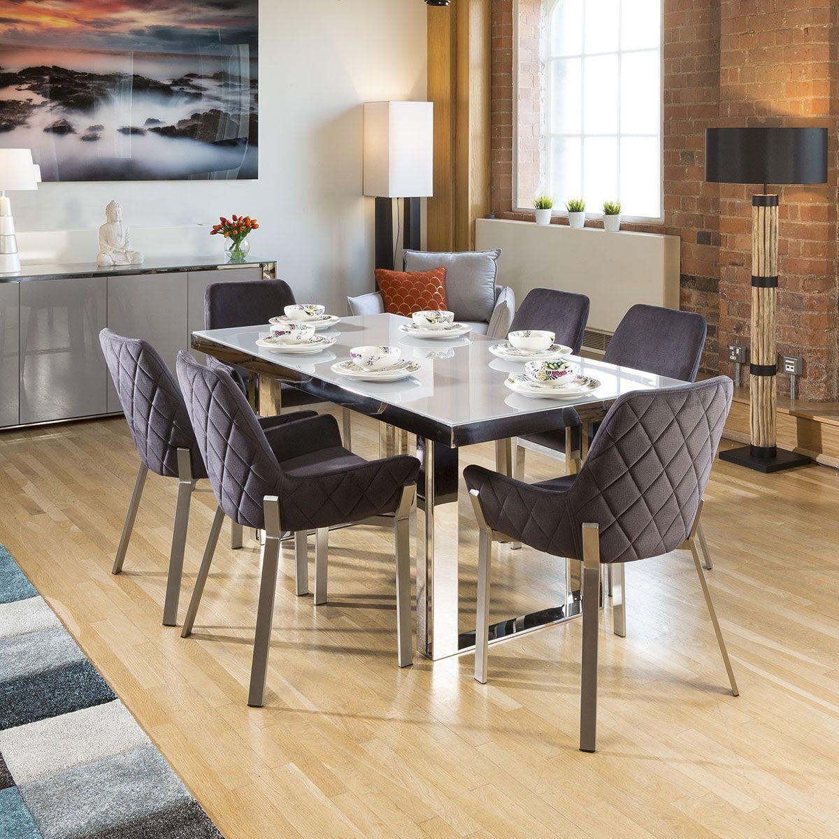 Quatropi Sophie Modern Grey Glass Dining Table 6 X Grey Carver