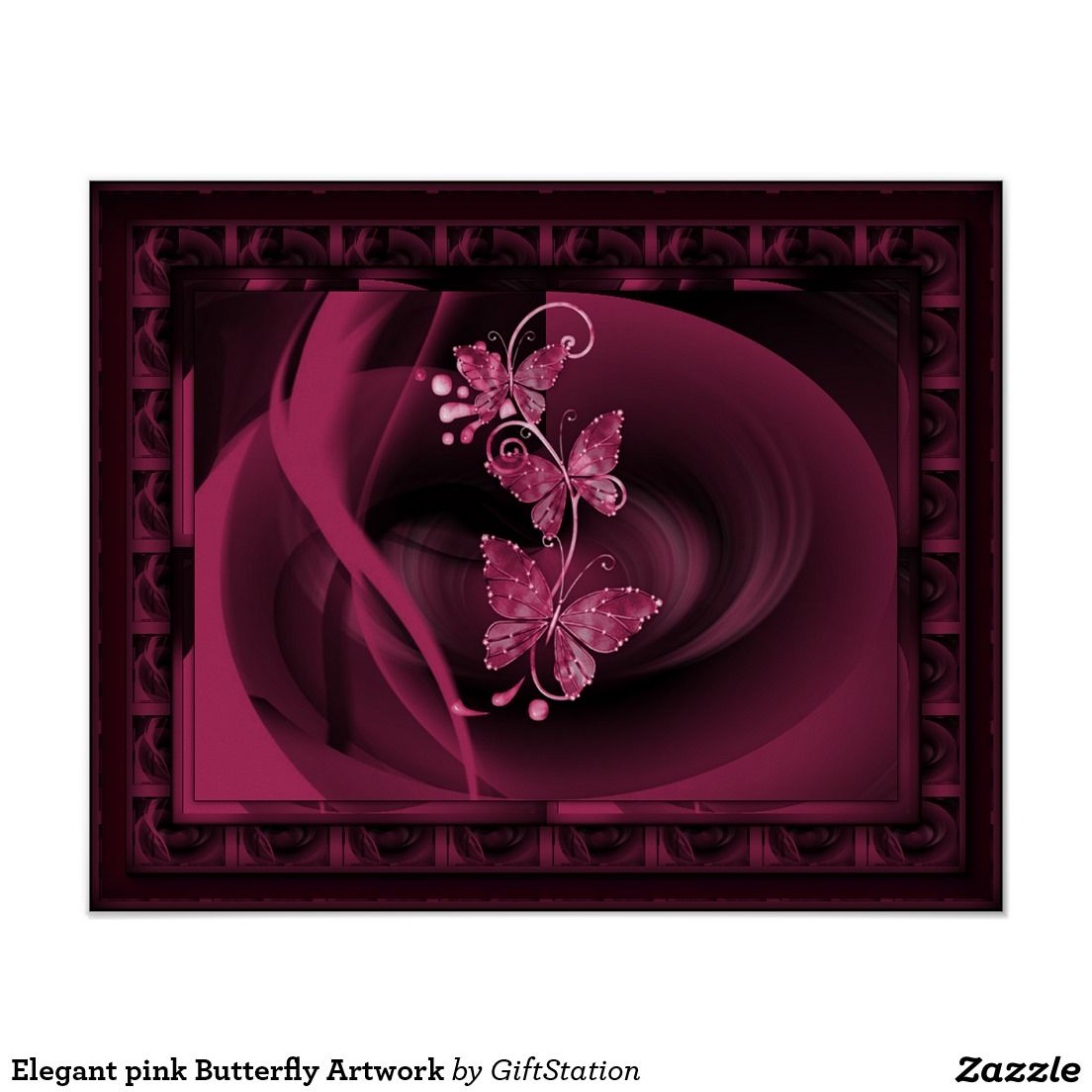 Elegant pink Butterfly Artwork Poster