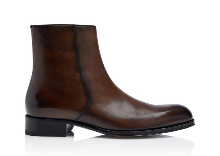 Edgar burnished leather zip boots | Men Euro Tradition Redo