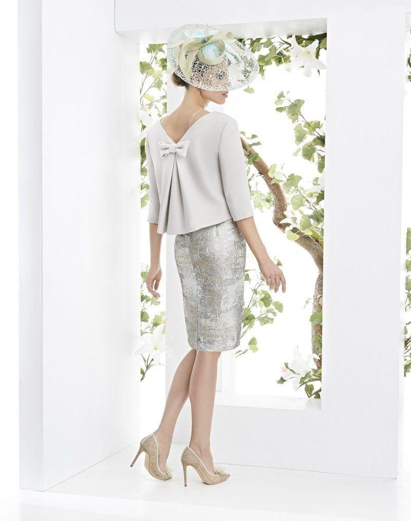 da0c76f110 Vestido corto con torera con un lazo atrás. ideal para invitadas de boda   madrinas  mamas de comunión.