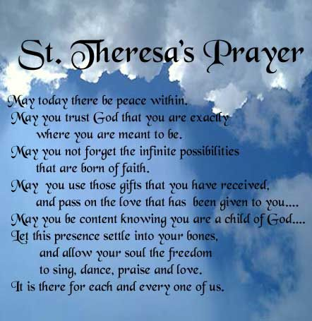 St Theresa S Prayer For Good Luck Cool Words He Wa Saddened By The New Paraphrase