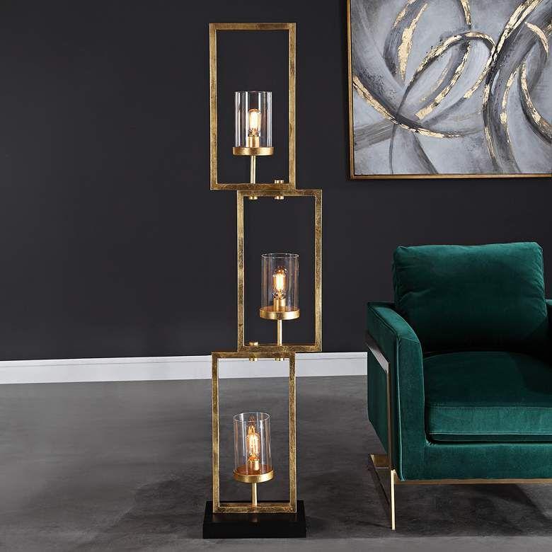 Uttermost Cielo Antique Gold Leaf 3Light Floor Lamp