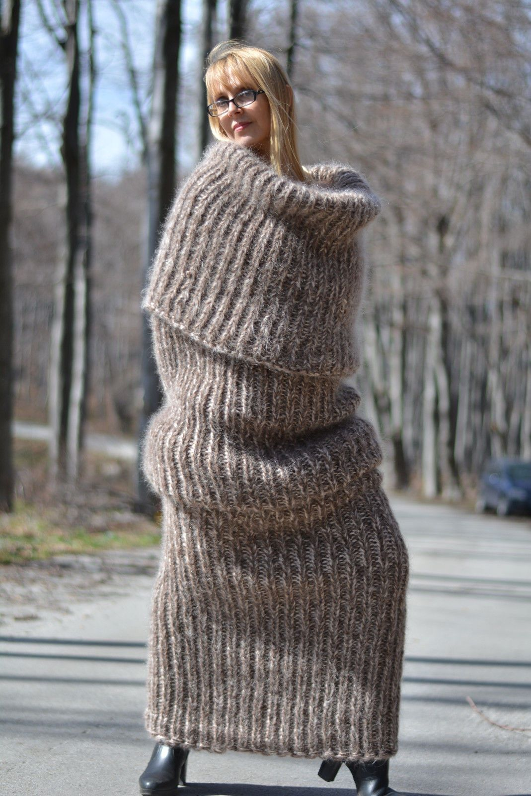 DUKYANA Hand Knitted Mohair Sweater Chunky Tube scarf One ...