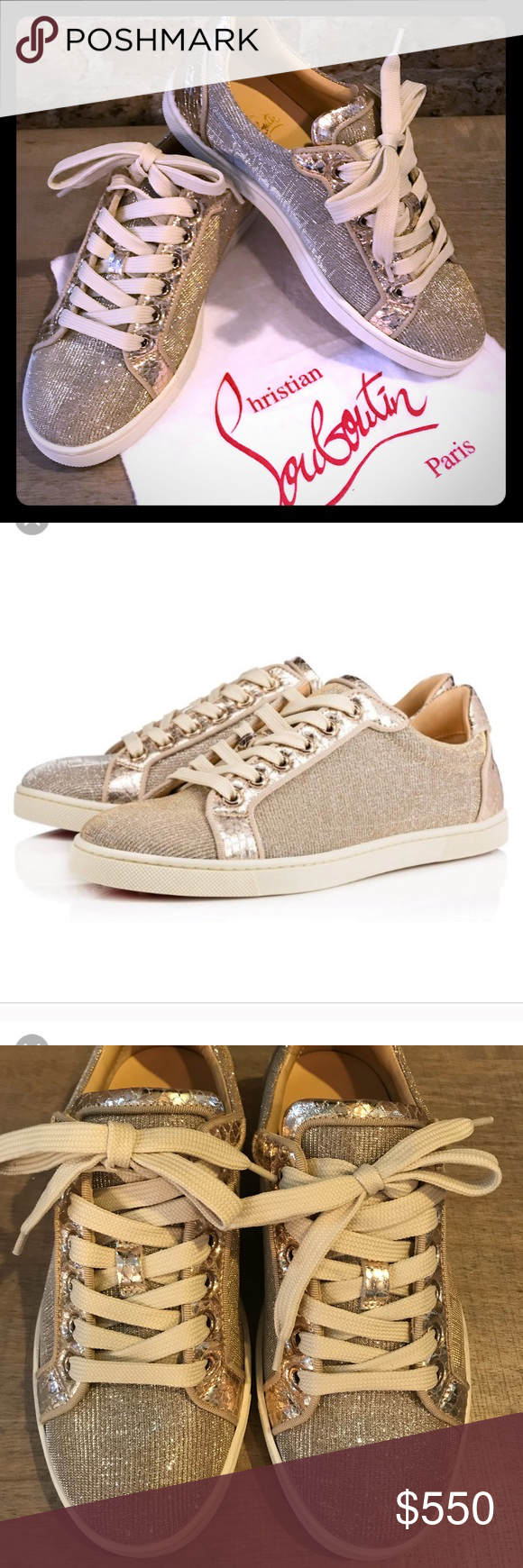 2531275ffb11 Christian Louboutin Saeva Woven Low-Top Sneakers Authentic Christian  Louboutin sneakers in excellent condition.