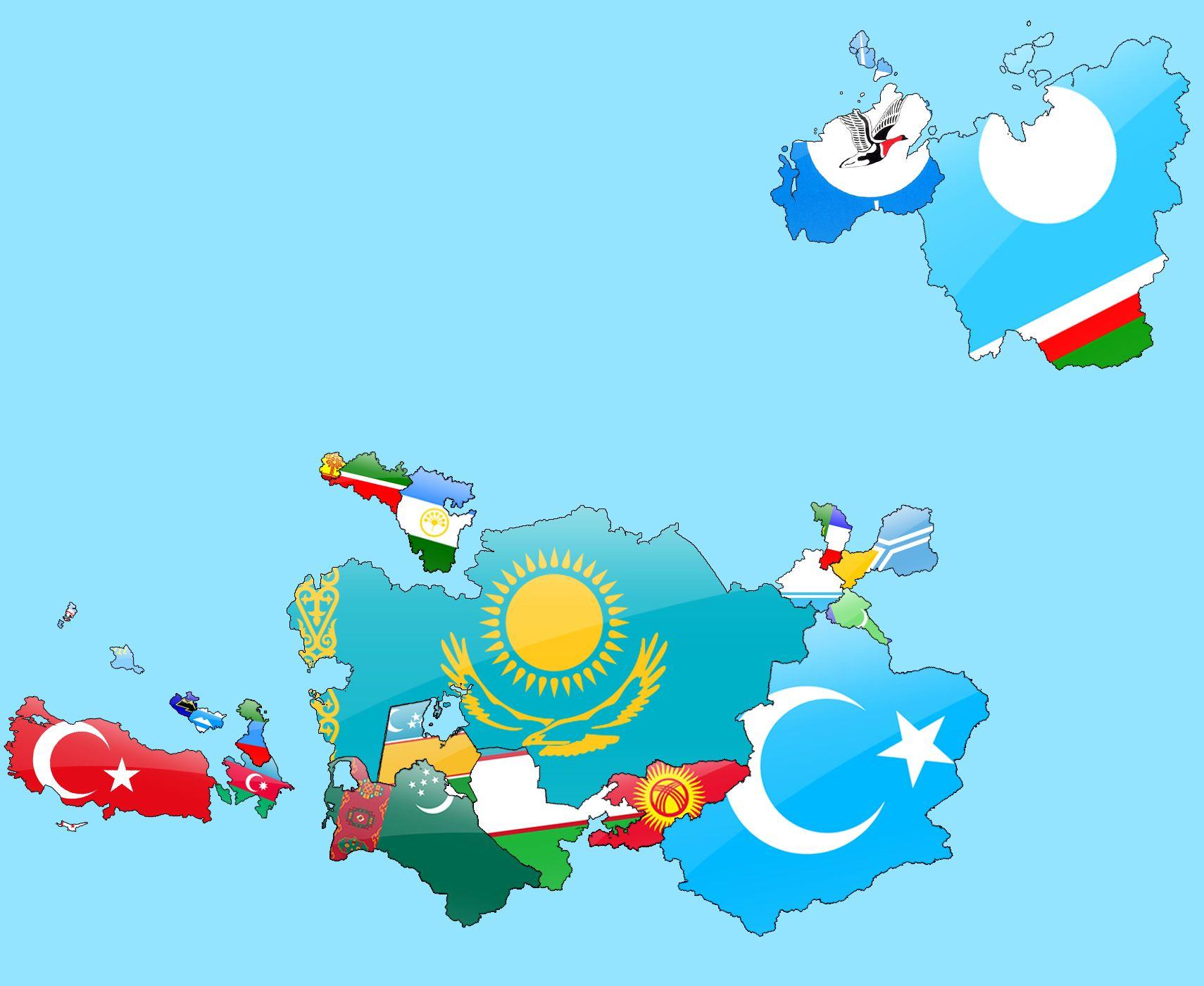 Türk Dünyası Bayrak Haritası | Turkic World Flag Map | Bayrak, Haritalar,  Tarih