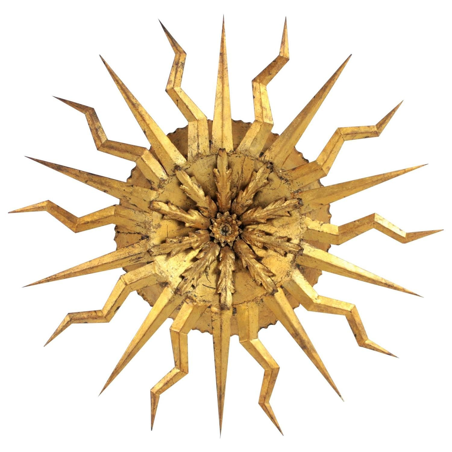 Large Brutalist Hand-Hammered Gilt Iron Starburst Light Fixture, Spain, 1950s