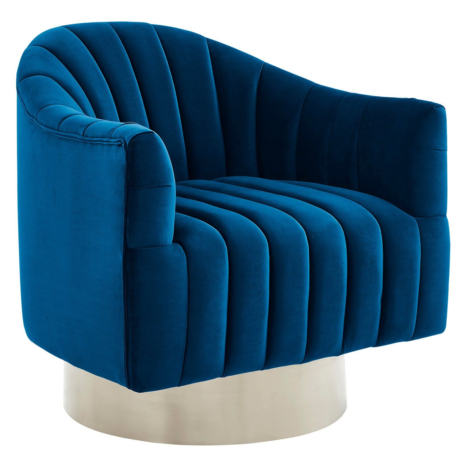 Best Nspire Swivel Velvet Accent Chair Blue Silver Accent 400 x 300