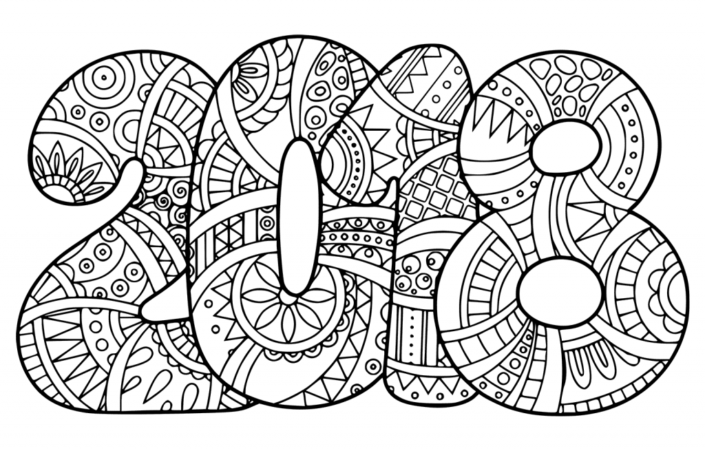 2018 coloring pages New Year 2018 Coloring Page Doodle | Zentangling | Pinterest  2018 coloring pages