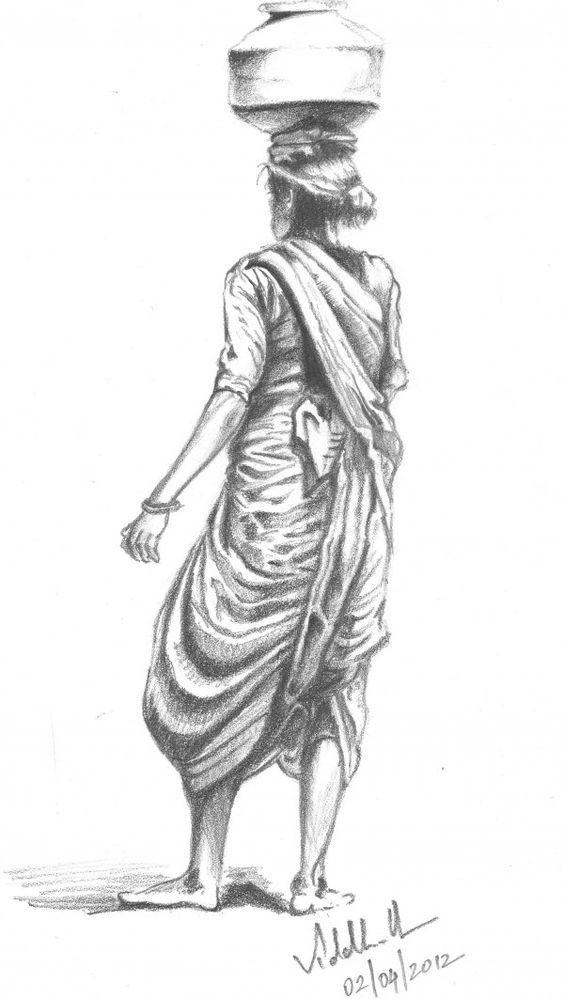 Indian village woman sketch