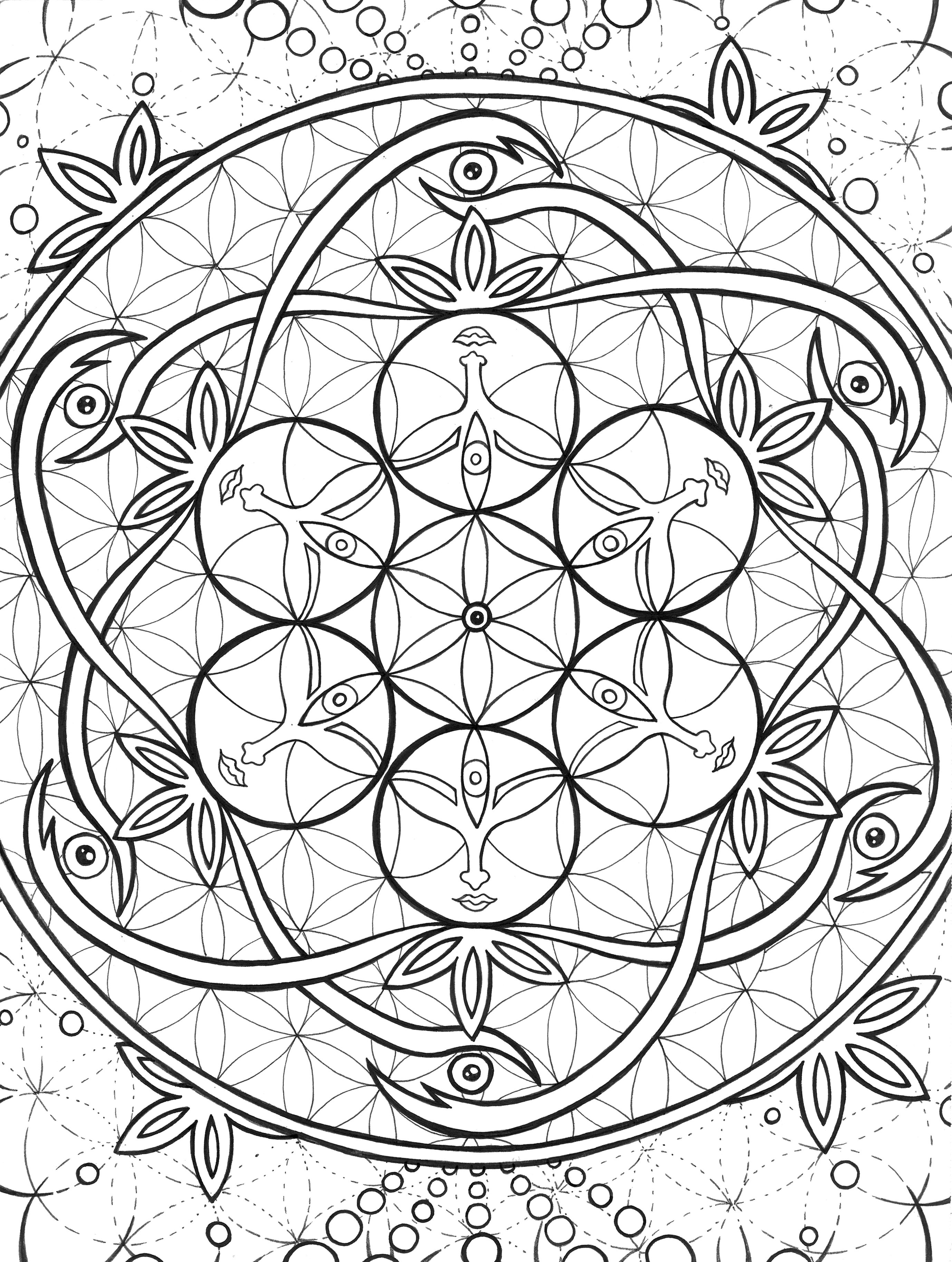 This Coloring Page Represents Unity Individual Flowers Reaching To Connect With What We Cannot Fully Per Sacred Geometry Symbols Colorful Heart Coloring Pages