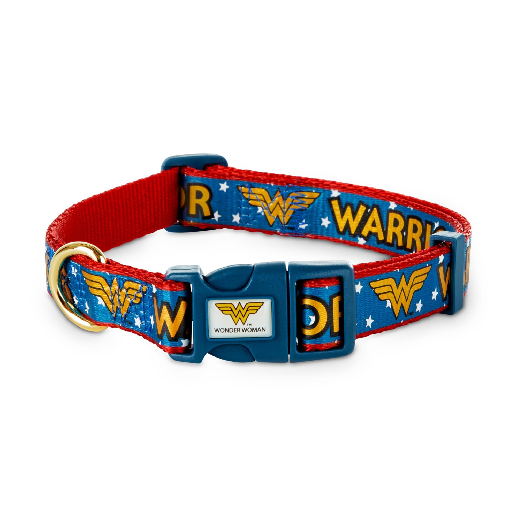 The DC Comics Justice League Wonder Woman Dog Collar captures the spirit of the Amazon Warrior by highlighting the characteristics your pup shares with the DC Super Hero herself. An adjustable fit, a secure closure and an emblem-embellished band partner to provide your pup with a comfortable fit and heroic look.