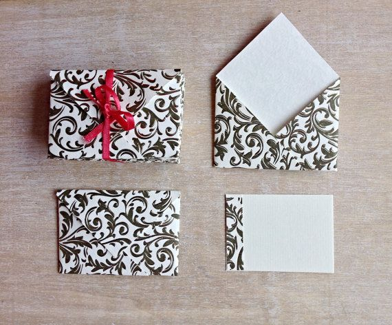12 Mini Envelopes Incl Inserts Italian Letter Press Paper With