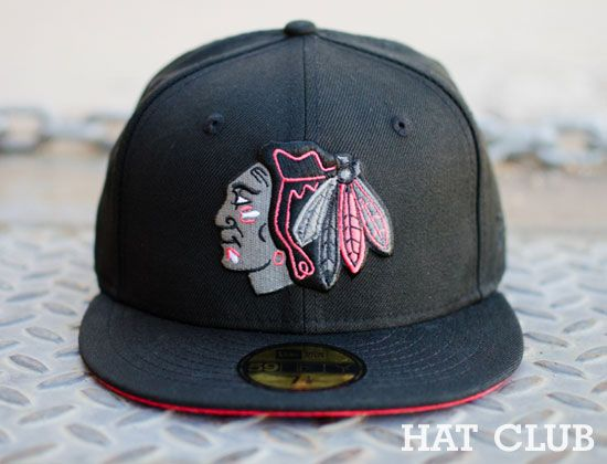 Custom Chicago Blackhawks Infrared 59Fifty Fitted Cap   HAT CLUB ... 18a628419570