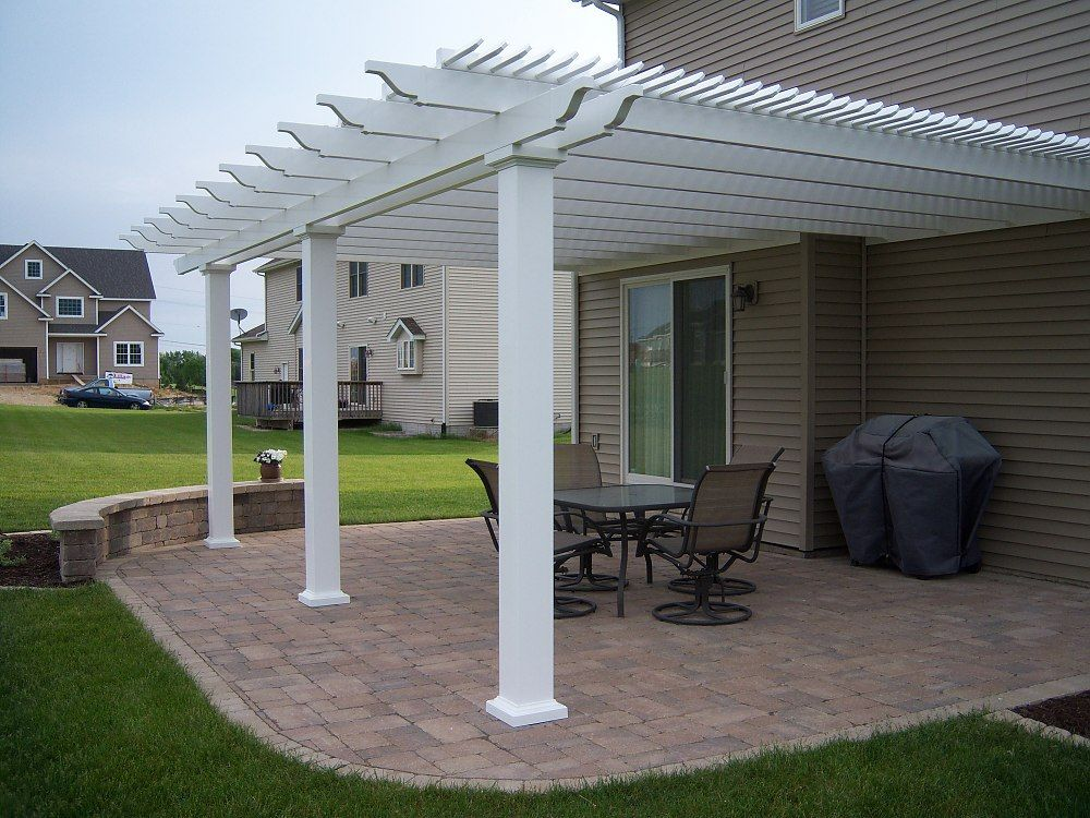 Sunset Pergola Kit Attached 16 X 16 Pergola With 75 Shade And 5 Square Posts White Vinyl W Aluminum Frame Sunset Pergola Kits For Sale Outdoor Pergola Pergola Patio Pergola