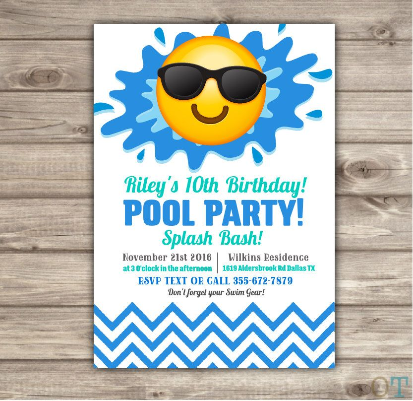 Emoji Pool Party Birthday Invitations Swim Party Beach Pool Party ...