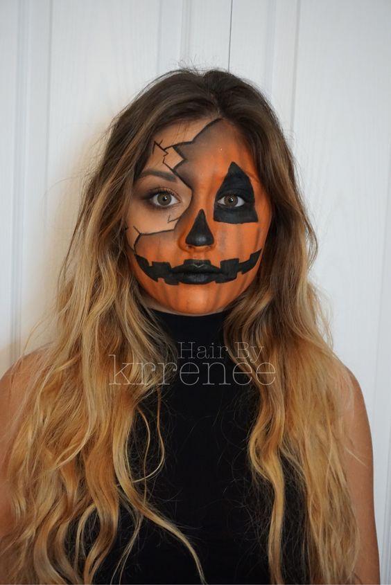 Halloween Kuerbis Kostuem Selber Machen.Diy Pumpkin Costume Images With Makeup Tutorial Maskerix Com Creepy Halloween Makeup Halloween Makeup Easy Cool Halloween Makeup