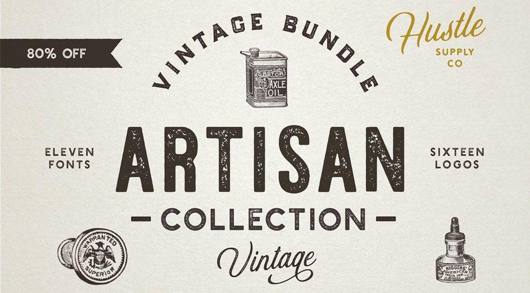 Retro Fonts And Vintage Logos Artisan Collection Retro Font Lettering Font Bundles