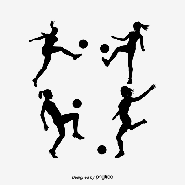 Silhouettes Of Women Football Players Silhouette Woman Girl Png And Vector With Transparent Background For Free Download Football Players Womens Football Football Player Drawing