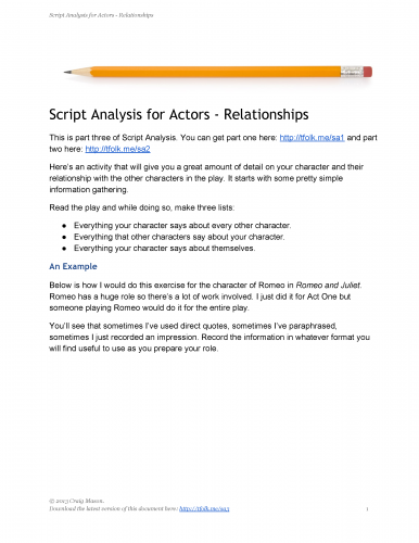 Script Analysis For Actors  Five Steps To Building Your