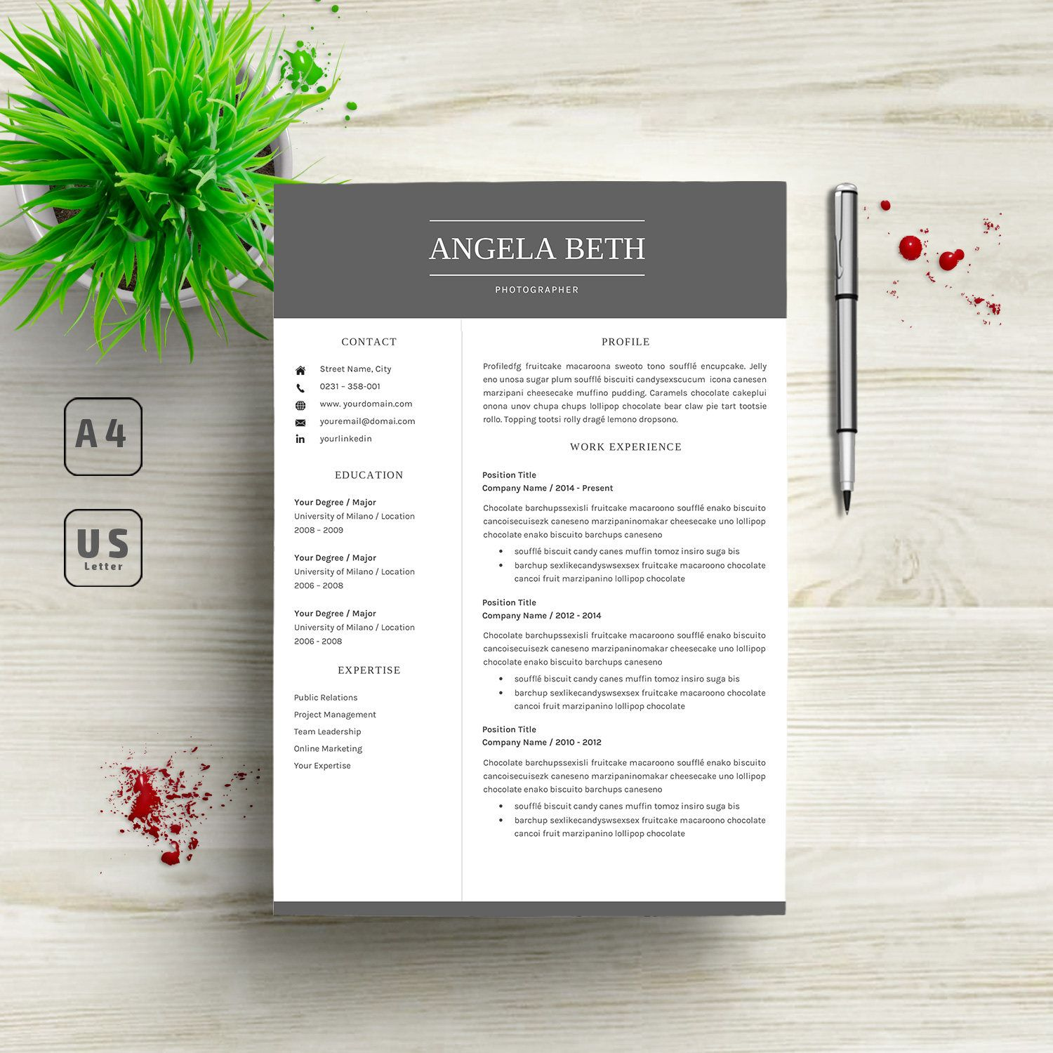 Modern Resume Template Cover Letter Word Mac Us Letter A Cv
