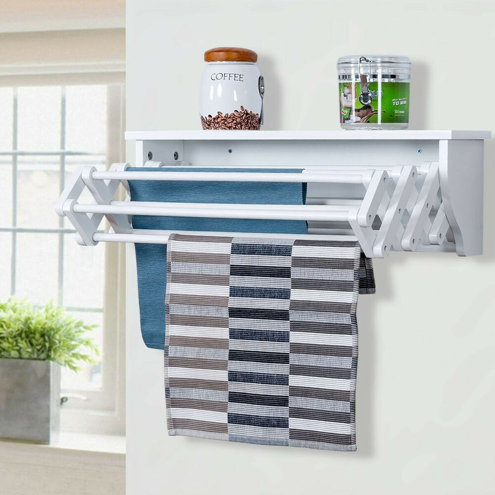 Clothes Drying Rack Wall Mounted Fold Down Towel Hang Folding Chic White In 2020 Wall Mounted Drying Rack Laundry Room Storage Shelves Small Laundry Room Organization