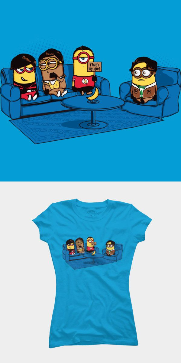 Funny and cute Big Bang Theory – Despicable Me Mashup T shirt. This parody design features the gang sitting on the sofa. Sheldon Cooper is sitting in his spot. Visit http://shirtminion.com/2014/11/my-spot-big-bang-theory-minions