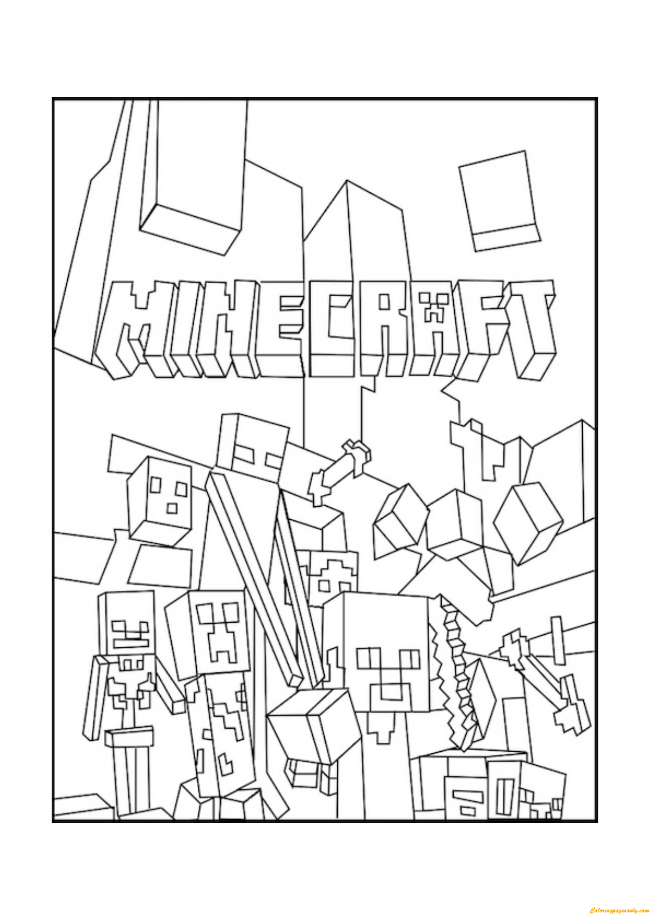 minecraft mobs 2 coloring page  coloring pages for kids