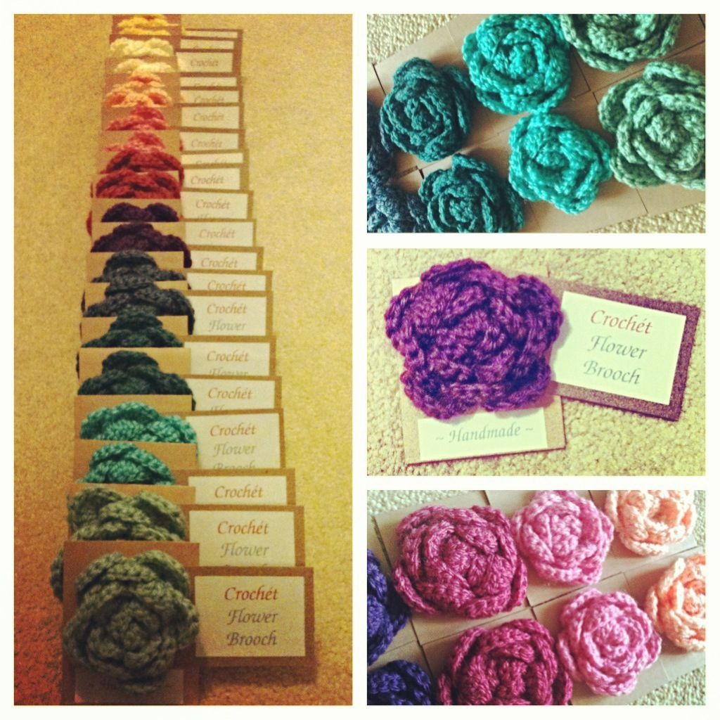 A rainbow of crochet flower brooches my final craft fair for Crochet crafts that sell well