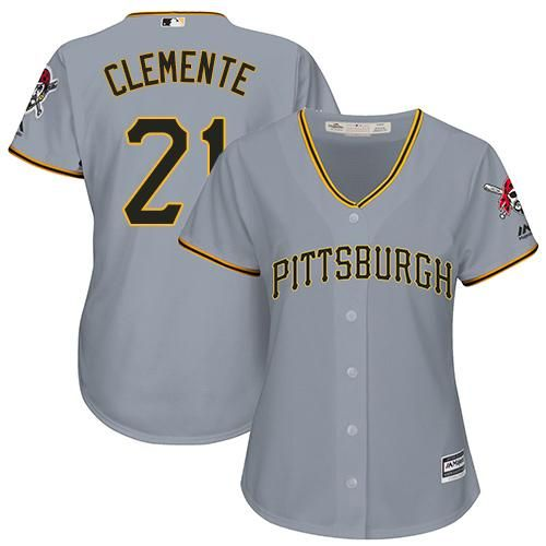 best cheap a7467 90ed1 Pirates #21 Roberto Clemente Grey Road Women's Stitched MLB ...