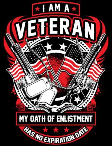 0881d7fedf5ad I Am A Veteran My Oath Of Enlistment Has No Expiration Date Flag & Guns  Design Design is printed on the back of the shirt with a small Skull  Society logo on ...
