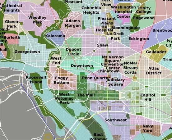 Washington DC Neighborhoods Map  Travel  Pinterest  Washington