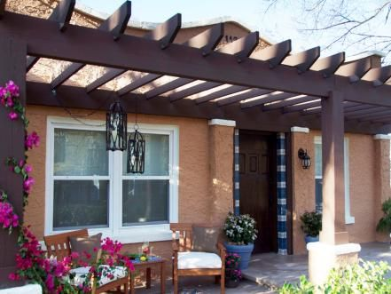 Curb Appeal: Front Entrance Makeovers | Pergolas, Front porches and on attached pergola, house without front door, wire pergola, white cedar pergola, back porch pergola, front porch pergola, curved deck with pergola, house plans ranch style with pergolas, front yard pergola, house with porch front door,