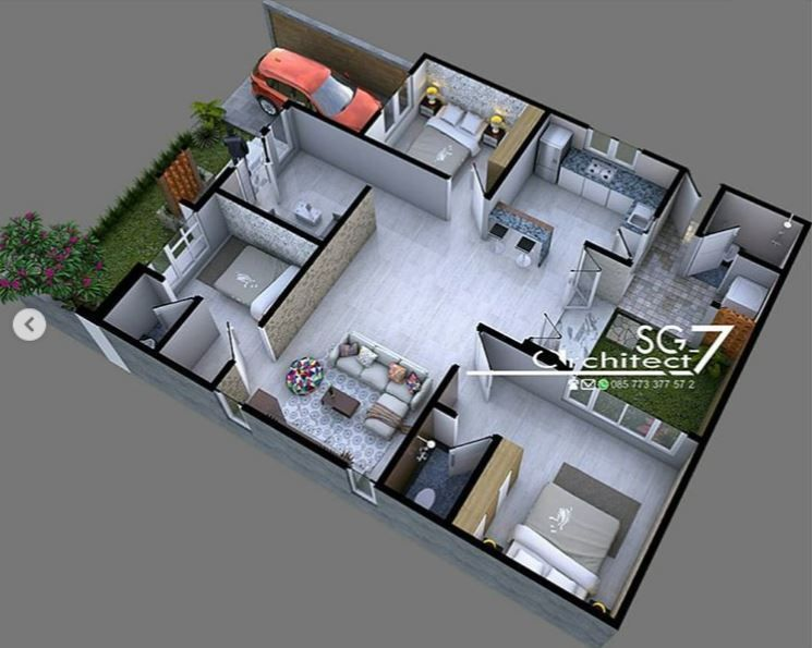 3 Bedrooms Home Design Plan 10x15m Home Design With Plan Home Design Plan House Design Bungalow House Design