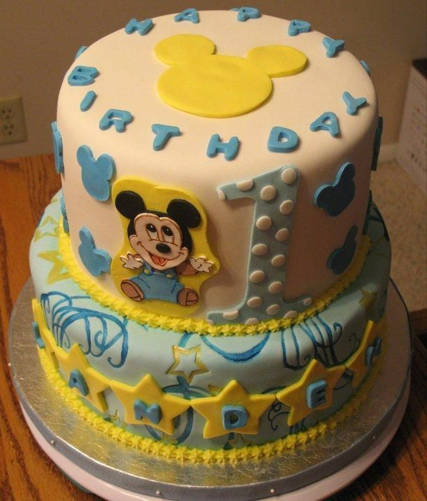 Baby mickey birthday cake ideas
