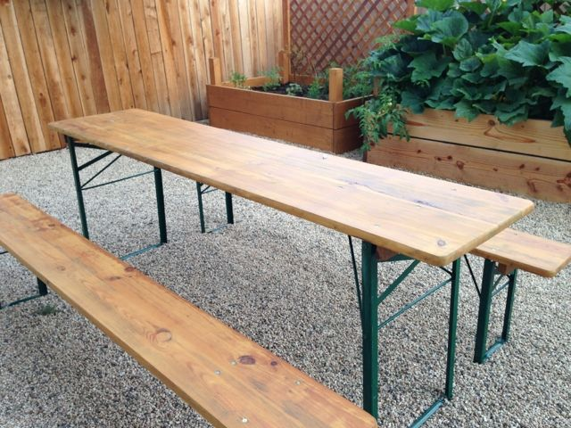 narrow picnic table   Sanded and stained our German beer garden picnic  table. narrow picnic table   Sanded and stained our German beer garden
