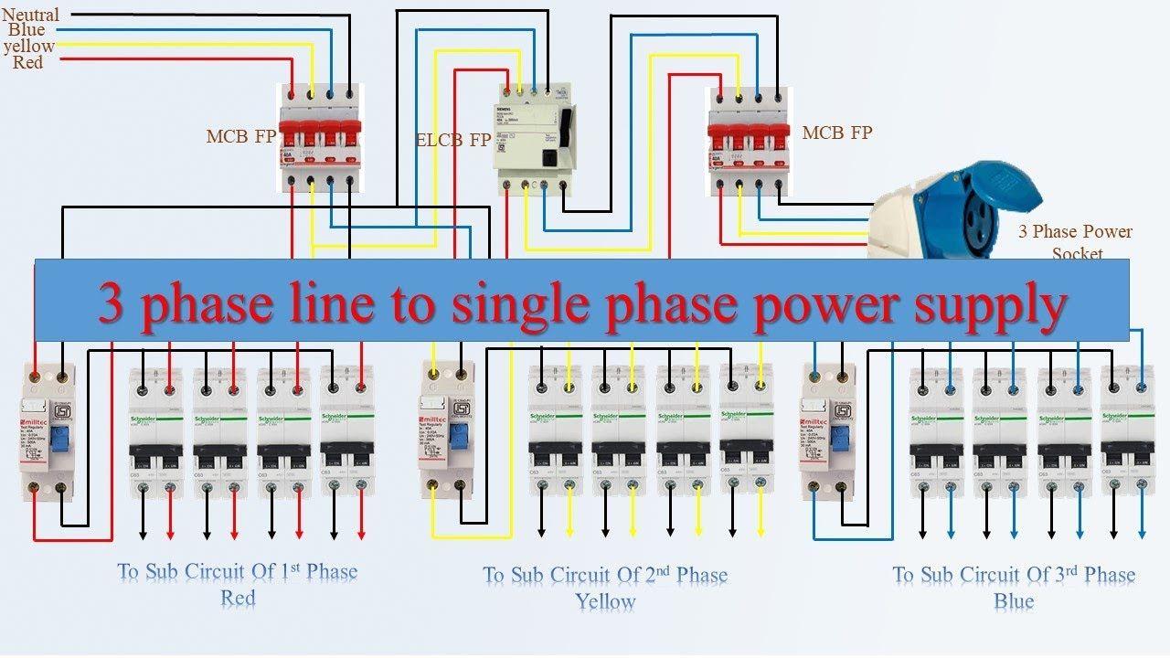 Single Phase Elcb Connection Diagram