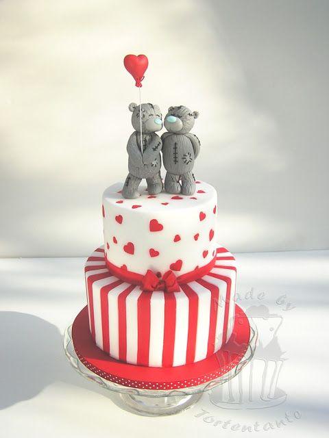 Striped Valentine Cake Torte Teddy Bear 4 Teil Nicht Vegane Susse