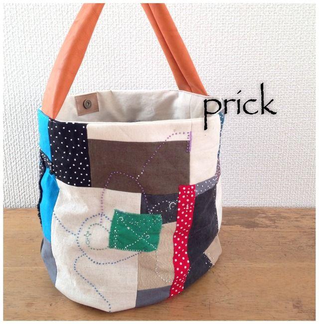 bag hand stitched, minne(ミンネ)| カラフルコラージュ/バケツバック