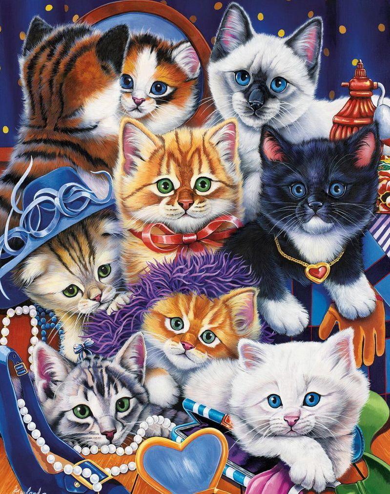 много картинок в одной картинке с котятами далее уже