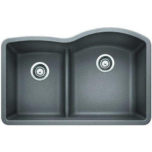 Blanco 32 Inch Diamond Undermount Low Divide Reverse 1 3 4 Bowl Kitchen Sink Metallic Grey 441601 Undermount Kitchen Sinks Double Bowl Kitchen Sink Double Bowl Undermount Sink