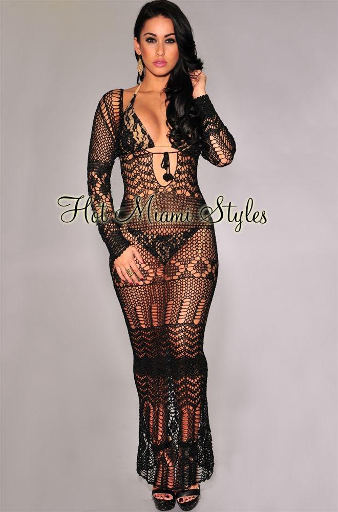 eab319af70 Black Silky Crochet Cover-Up Long Sleeves Maxi Dress | Beach Babe ...